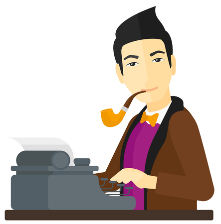 type writer: An asian reporter writing an article on his typewriter vector flat design illustration isolated on white background.