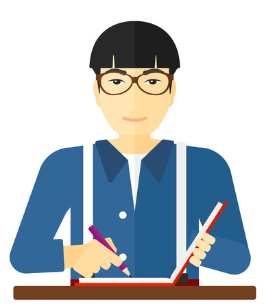 penman: An asian reporter writing an article in his writing-pad vector flat design illustration isolated on white background. Illustration