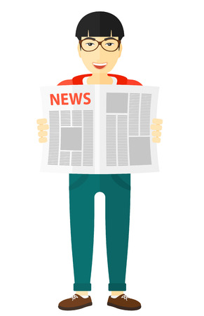 article: An asian reporter reading the newspaper with his article vector flat design illustration isolated on white background.