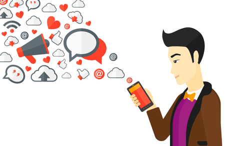 using smartphone: An asian man using smartphone with lots of social media application icons flying out vector flat design illustration isolated on white background.