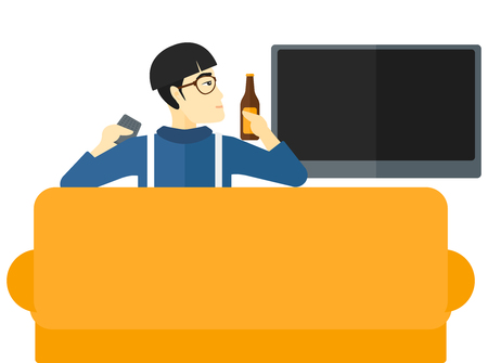 An asian man sitting on the couch and watching tv with remote controller and a bottle in hands vector flat design illustration isolated on white background.