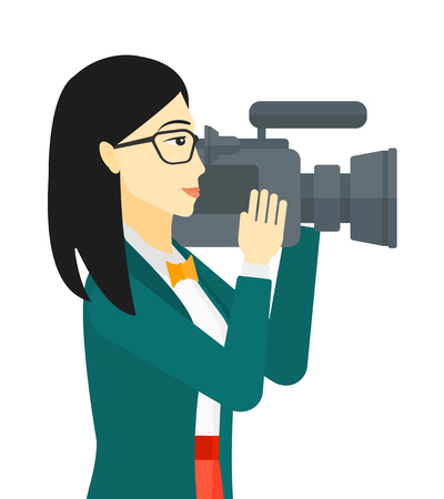 An asian cameraman with video camera taking a video vector flat design illustration isolated on white background.