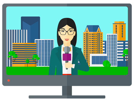 Television set broadcasting the news with an asian reporter vector flat design illustration isolated on white background.