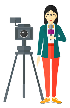 A camera filming and an asian reporter standing with a microphone vector flat design illustration isolated on white background. Illustration