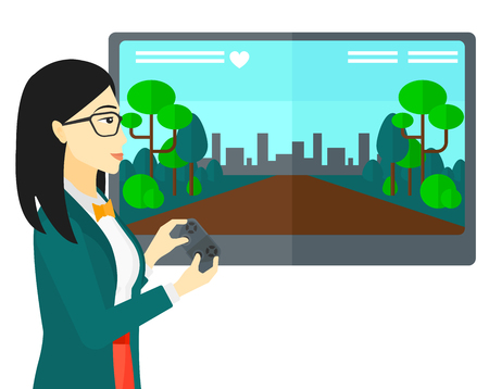 users video: An asian woman playing video game with gamepad in hands vector flat design illustration isolated on white background.