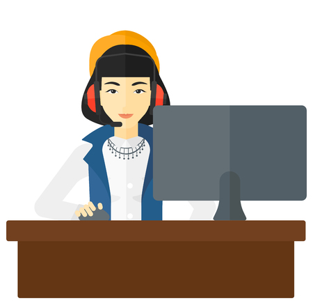 users video: An asian woman in headphones sitting in front of computer monitor with mouse in hand vector flat design illustration isolated on white background. Illustration
