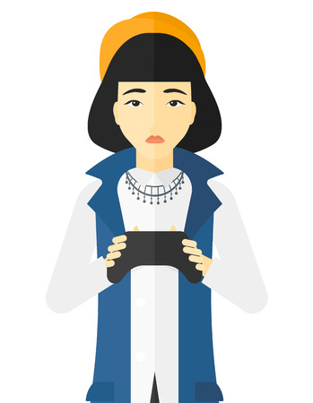 gamepad: An asian woman with gamepad in hands vector flat design illustration isolated on white background. Illustration