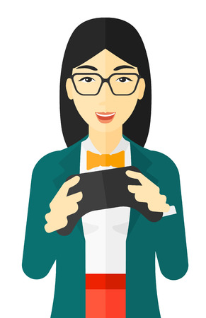An asian enthusiastic woman with gamepad in hands vector flat design illustration isolated on white background.