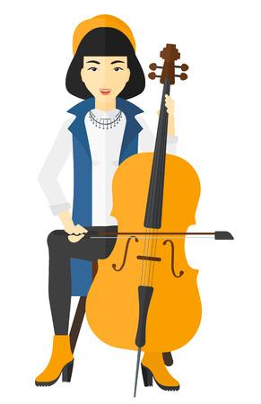 Een Aziatische vrouw die illustratie van het cello de vector vlakke ontwerp speelt die op witte achtergrond wordt geïsoleerd. Stock Illustratie