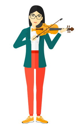 An asian woman  playing violin vector flat design illustration isolated on white background. Ilustrace