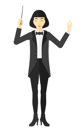 An asian orchestra conductor directing with his baton vector flat design illustration isolated on white background.