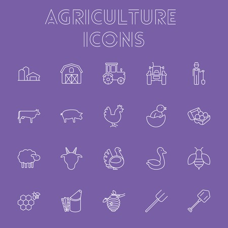 hangar: Agriculture icon set. Vector light purple icon isolated on dark purple background. Illustration