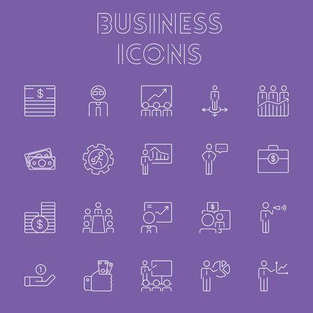Conjunto de iconos de negocios. Vector el icono purpúreo claro aislado en fondo púrpura oscuro. Foto de archivo - 51455323