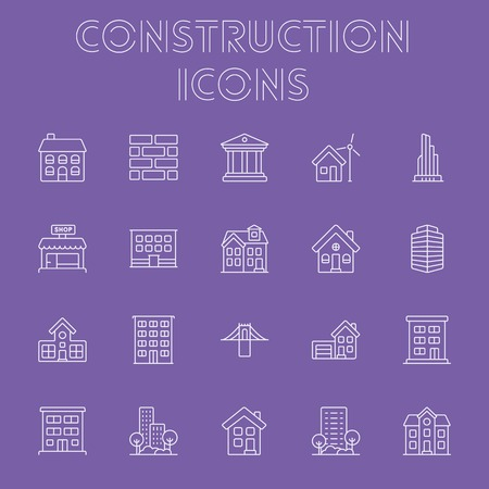 housing project: Construction icon set. Vector light purple icon isolated on dark purple background. Illustration