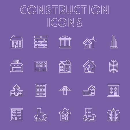 Construction icon set. Vector light purple icon isolated on dark purple background. Illustration