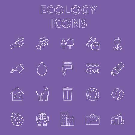 Ecology icon set. Vector light purple icon isolated on dark purple background.