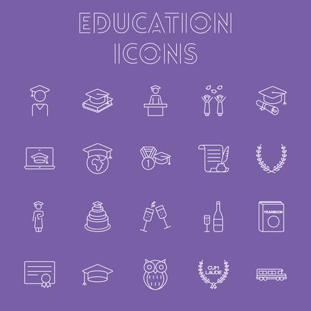 yearbook: Education icon set. Vector light purple icon isolated on dark purple background.