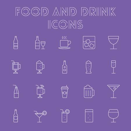 ice tea: Food and drink icon set. Vector light purple icon isolated on dark purple background.