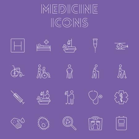 Medicine icon set. Vector light purple icon isolated on dark purple background. Illustration