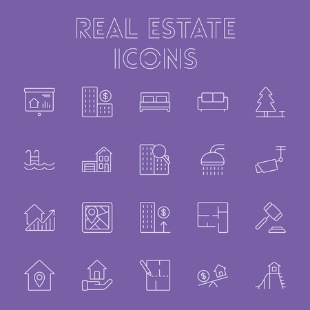 apartment buildings: Real estate icon set. Vector light purple icon isolated on dark purple background.