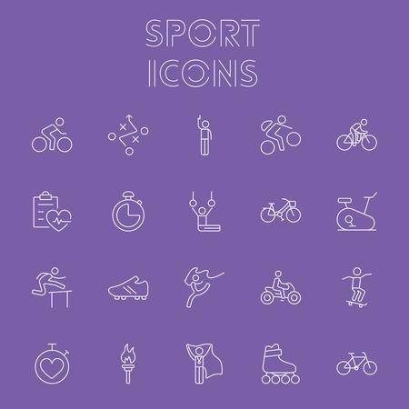 Sport icon set. Vector light purple icon isolated on dark purple background. Reklamní fotografie - 51459000