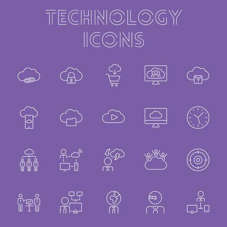 Technology icon set. Vector light purple icon isolated on dark purple background.