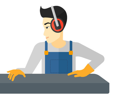 An asian man working on a steel-rolling mill vector flat design illustration isolated on white background.