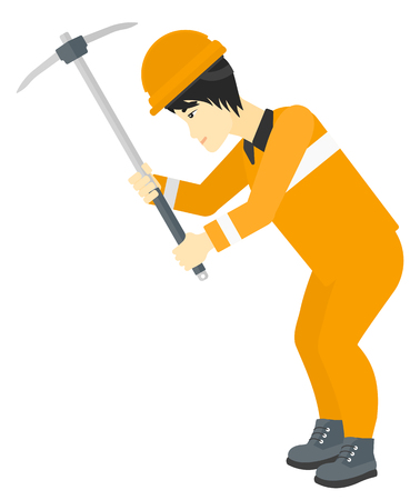 pickaxe: An asian man working with a pickaxe vector flat design illustration isolated on white background. Illustration