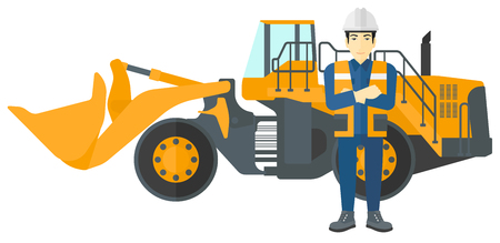 excavate: An asian miner standing near a big mining equipment vector flat design illustration isolated on white background.