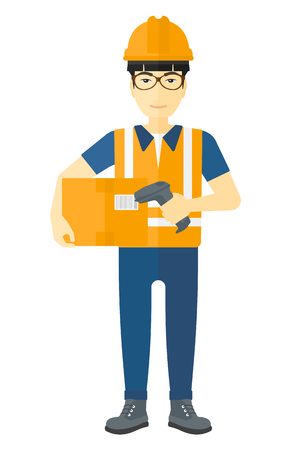 checking: An asian worker checking barcode of a box with a scanner vector flat design illustration isolated on white background.