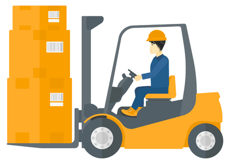An asian warehouse worker moving load by forklift truck vector flat design illustration isolated on white background. Ilustracja