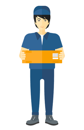 carrying box: An asian delivery man carrying box vector flat design illustration isolated on white background.