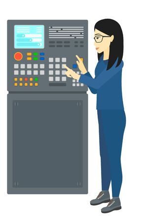 An asian woman standing in front of the control panel vector flat design illustration isolated on white background.