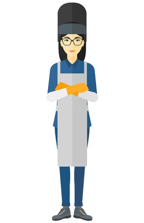 workwoman: An asian welder standing with crossed arms vector flat design illustration isolated on white background. Illustration