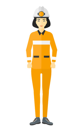 workwoman: An asian miner in hardhat with torch vector flat design illustration isolated on white background. Illustration