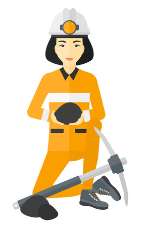 pickaxe: An asian miner sitting near a pickaxe and holding coal in hands vector flat design illustration isolated on white background. Illustration