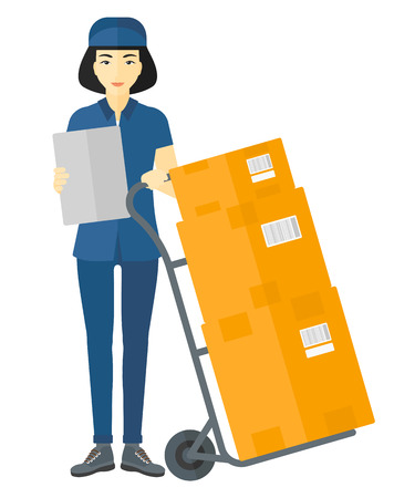 shipper: An asian delivery woman standing near cart with boxes and holding a file in a hand vector flat design illustration isolated on white background.