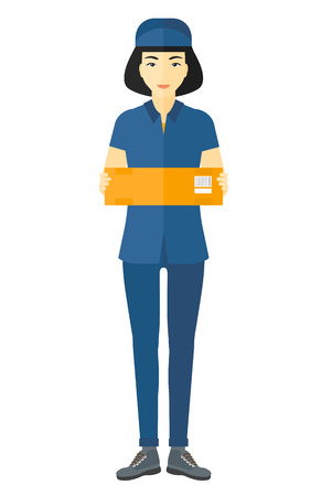 carrying box: An asian delivery woman carrying box vector flat design illustration isolated on white background. Illustration