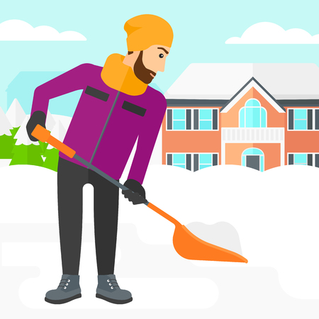 A hipster man with the beard shoveling and removing snow in front of house  vector flat design illustration. Square layout.