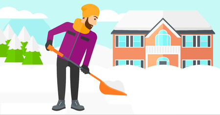 A hipster man with the beard shoveling and removing snow in front of house  vector flat design illustration. Horizontal layout.