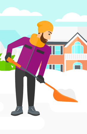 A hipster man with the beard shoveling and removing snow in front of house  vector flat design illustration. Vertical layout.
