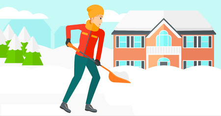 A woman shoveling and removing snow in front of house  vector flat design illustration. Horizontal layout.
