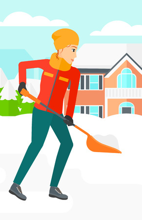 shoveling: A woman shoveling and removing snow in front of house  vector flat design illustration. Vertical layout.