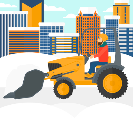 A hipster man with the beard driving a bulldozer removing snow on a city background vector flat design illustration. Square layout.