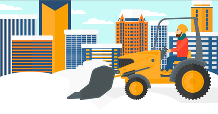 A hipster man with the beard driving a bulldozer removing snow on a city background vector flat design illustration. Horizontal layout.