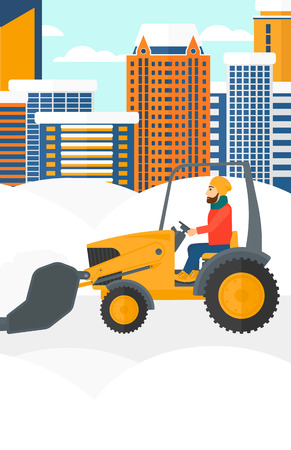 A hipster man with the beard driving a bulldozer removing snow on a city background vector flat design illustration. Vertical layout.