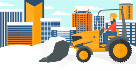 A woman driving a bulldozer removing snow on a city background vector flat design illustration. Horizontal layout.