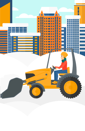 A woman driving a bulldozer removing snow on a city background vector flat design illustration. Vertical layout.