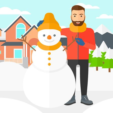 caucasians: A hipster man with the beard posing near snowman on a house and mountains background vector flat design illustration. Square layout.