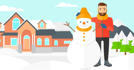enjoyment: A hipster man with the beard posing near snowman on a house and mountains background vector flat design illustration. Horizontal layout.